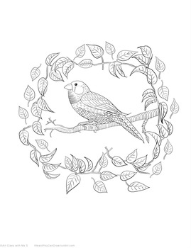 Printable Coloring Page of a finch on a branch