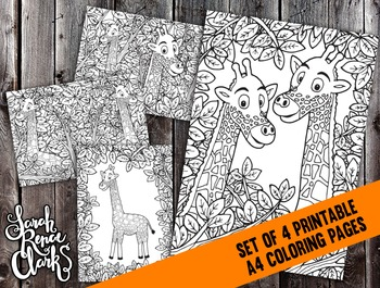 Printable Coloring Pages Set - 4x Detailed Giraffe Coloring Pages - A4 PDF