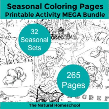 Printable Coloring Pages for Kids ~ MEGA Bundle of 32 Sets ~ 265 Pages