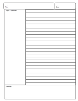 image relating to Printable Notes Page referred to as Printable Cornell-Design and style Notes Webpage
