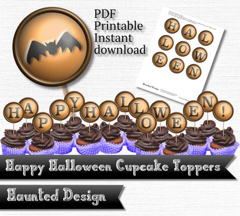 Printable Cupcake Happy Halloween 2 inch party circle Printable PDF