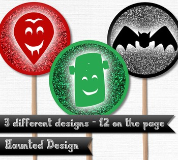 Printable Cupcake Topper Vampire Bat Frankenstein 2 inch party circle