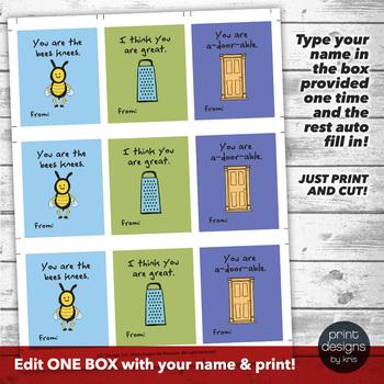 Editable Cute Valentines Day Card - Printable Valentine - School Valentines Day