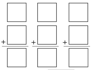 Printable Cuttable Addition Boards - Vertical