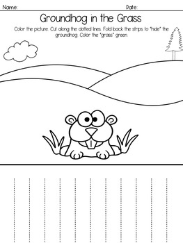 Groundhog Hiding In The Grass ~ A Printable Coloring and Cutting Page