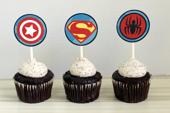 picture about Superhero Cupcake Toppers Printable named Printable Do-it-yourself Superhero Cupcake Toppers