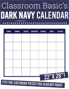 "Printable Dark Navy Calendar (22""X28""!)"