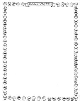 Printable Day of the Dead page boarder ~Clip art ~Dia de los Muertos ~Editable