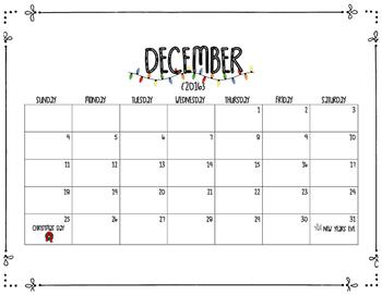 Printable December Calendar