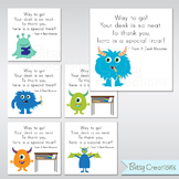 Printable Desk Monster Cards Instant Download Teacher Incentives