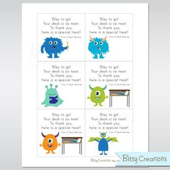 Printable Desk Monster Cards Instant Download Teacher Incentives
