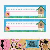 Printable Desk Nameplate - Birdhouse and Ladybug