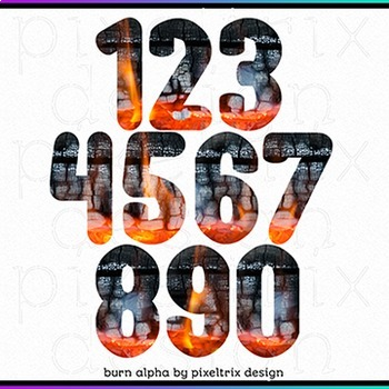 Printable Clip Art *BURN* Camp Fire Winter Alphabet and Number Set