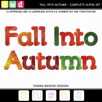 Printable Clip Art Alphabet *FALL INTO AUTUMN* Alpha, Punctuation and Number Set