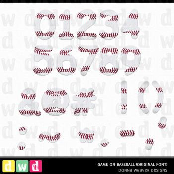 Printable Digital Alphabet *GAME ON - BASEBALL*  Baseball Ball Clip Art