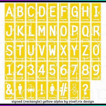 Printable Clip Art *SIGNED - RECTANGLE MEGA PACK* Arrow Signs Alphabet
