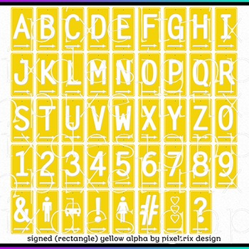 Printable Clip Art *SIGNED - RECTANGLE MEGA PACK* Arrow Signs Alphabet