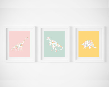 Printable Dinosaur Posters, Rainbow Color, Set of 3