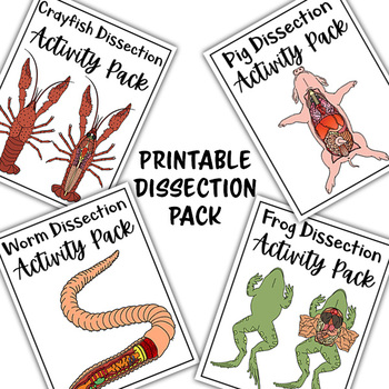 Printable Dissection Pack - Frog, Crayfish, Earth Worm and Pig