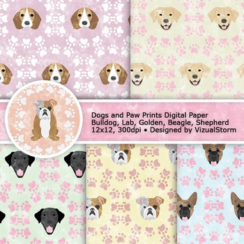 Printable Dog Digital Paper, Dogs and Paw Prints Patterns - 10 Pet Backgrounds