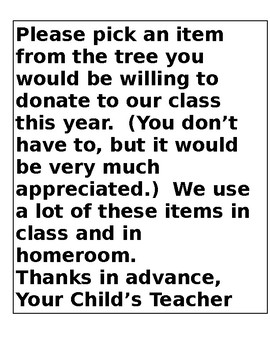 Printable Donation Tree for Open House