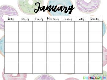 Donut Lovin' Calendar Templates [editable]