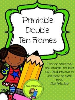 Printable Double Ten Frames- Bright Colors