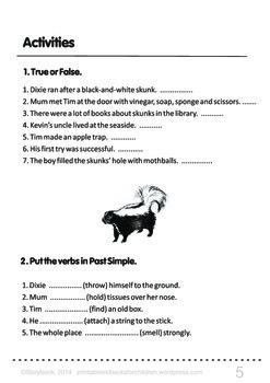 Printable ESL Book: Skunks In The Yard (5th-6th grade)