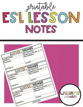 Printable ESL Lesson Notes