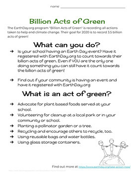 Printable Earth Day 2019 Activity Pack - Middle School Grades