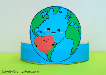 picture about Printable Earth Pictures named Entire world Working day Printable Paper Crowns - Shade + Black white model
