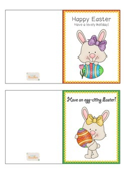 Printable Easter Cards Colour and Black and White for Teachers and Students K-3