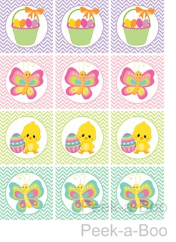 Printable Easter Cupcake Toppers Round Stickers Easter Favor Tags for Easter