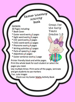 Printable Easter Literacy Activity Book 30 pages Black and White Grades 1-3