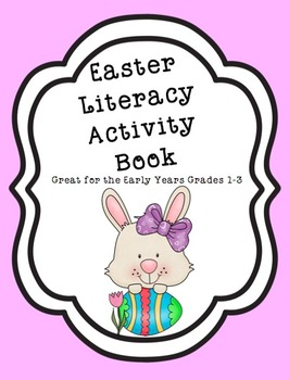 Printable Easter Literacy Activity Book 30 pages Black and