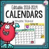 Printable Editable Calendars 2018-2019 Monster Themed