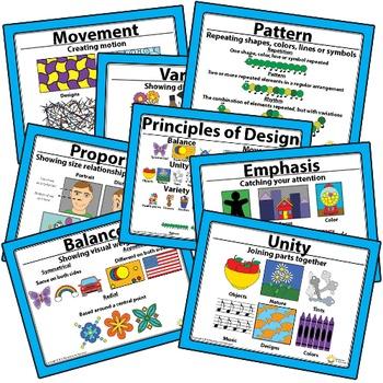 Printable Principles of Design Art Classroom Visuals Posters Elementary Art
