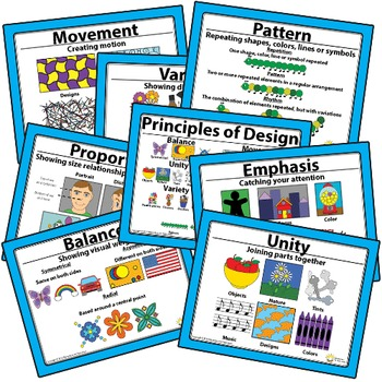 Printable Principles of Design Art Classroom Visuals Posters Elementary Art
