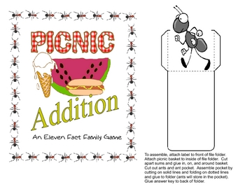 Printable Eleven Addition Facts File Folder Game