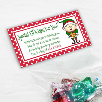 graphic relating to Elf Kisses Printable referred to as Printable Elf Kisses Xmas Handle Bag Toppers for Clroom Get-togethers