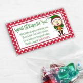 Printable Elf Kisses Christmas Treat Bag Toppers for Class