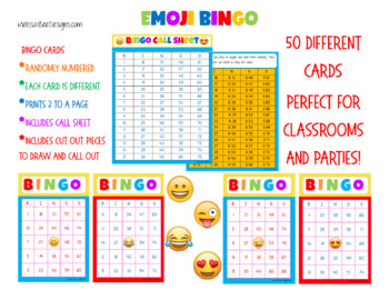 graphic regarding Emoji Printable Sheets named Printable Emoji Bingo Fixed 50 Playing cards and make contact with sheets