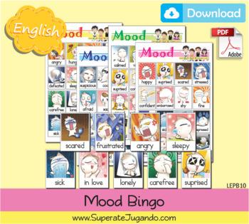 Printable English Mood Bingo - Loteria de Estados de Animo en Inglés Imprimir