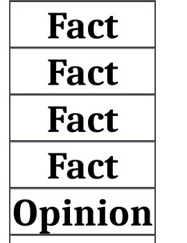 Printable Fact Opinion Cards