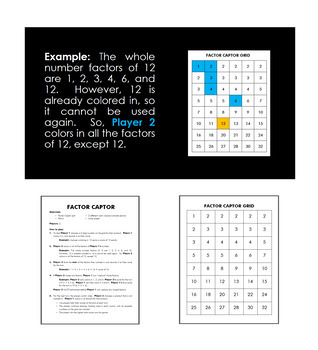 Factor Captor Printable Gameboard and Instructions with PowerPoint