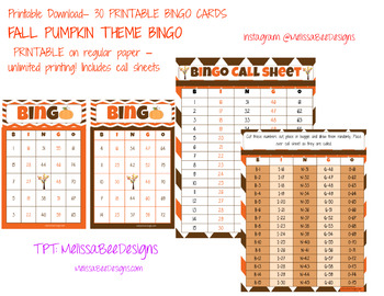 photo relating to Fall Bingo Printable called Printable Tumble Pumpkin Bingo Video game for clroom Q30 with get hold of sheets