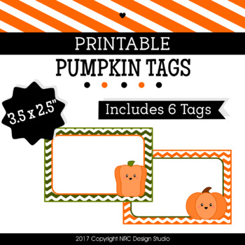 Printable Tags, Fall Pumpkins, Labels, Name Tags - Classroom Decoration