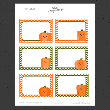 Printable Tags, Fall Pumpkins, Labels, Name Tags - Classroom Decoration