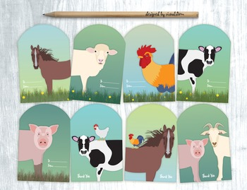 Printable Farm Animal Gift Tags - 8 Handmade Barn Animal Party Favors/Gift Tags