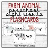 Farm Animal Preschool Sight Words Flashcards - PreK Literacy Center Cards